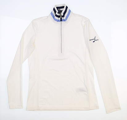 New W/ Logo Womens Ralph Lauren 1/4 Zip Golf Pullover Small S White MSRP $115