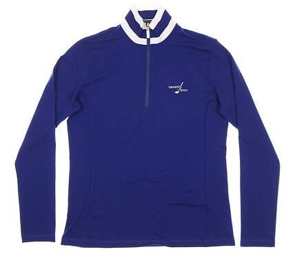 New W/ Logo Womens Ralph Lauren 1/4 Zip Golf Pullover Medium M Blue MSRP $115