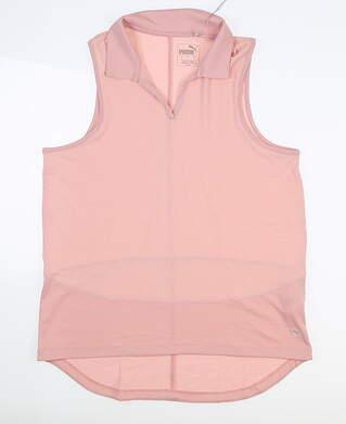 New Womens Puma Mesh Sleeveless Polo Small S Peachskin MSRP $55 597694 03