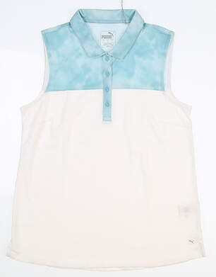 New Womens Puma Top Dye Sleeveless Polo Small S White/ Milky Blue MSRP $55 597689 04