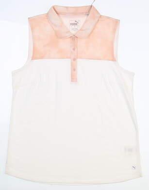New Womens Puma Top Dye Sleeveless Polo Small S Peachskin MSRP $55 597689 02