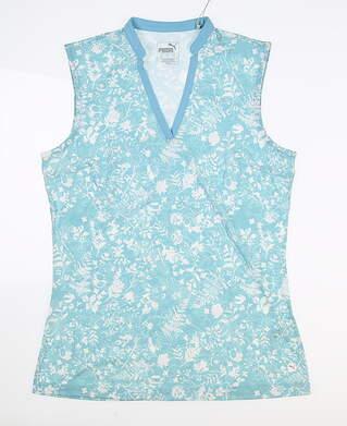 New Womens Puma Millefleur Sleeveless Polo Small S Milky Blue MSRP $55 597697 03