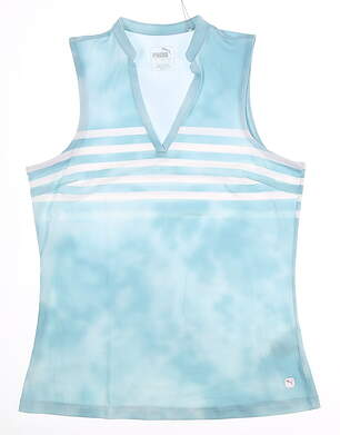 New Womens Puma Tie Dye Sleeveless Polo Small S Milky Blue MSRP $55 597704 03
