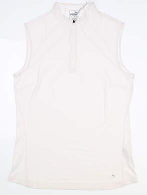 New Womens Puma Sheer Stripe Mockneck Sleeveless Polo Small S White MSRP $55 595829 08