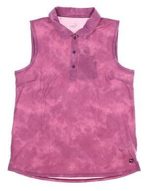 New Womens Puma Floral Dye Sleeveless Polo Small S Dark Purple MSRP $55 597698 01
