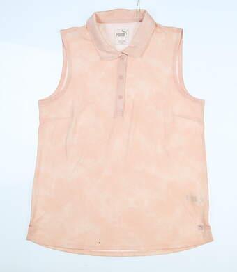 New Womens Puma Floral Dye Sleeveless Polo Small S Peachskin MSRP $55 597698 03