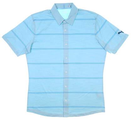 New Mens Puma Cloudspun Golf Shirt Medium M Milky Blue MSRP $75 597583 03