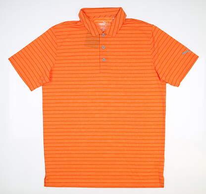 New Mens Puma Proven Stripe Polo Medium M Vibrant Orange MSRP $60 577974 10