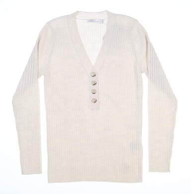 New Womens Peter Millar The York Ribbed Sweater Small S Ivory MSRP $195 LF19S26
