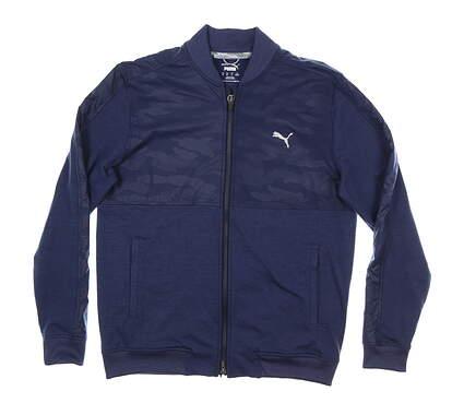 New Mens Puma Cloudspun Camo Jacket Medium M Peacoat MSRP $90 597590 02