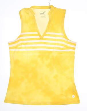 New Womens Puma Tie Dye Sleeveless Polo Small S Super Lemon MSRP $55 597704 01