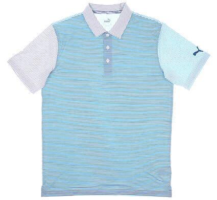 New Mens Puma Cloudspun Multicolor Polo Medium M Milky Blue MSRP $70 597565 02