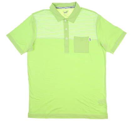 New Mens Puma Cloudspun Pocket Polo Medium M Greenery MSRP $70 597578 06