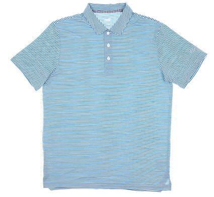 New Mens Puma Caddie Stripe Polo Medium M Digi Blue MSRP $65 595115 15