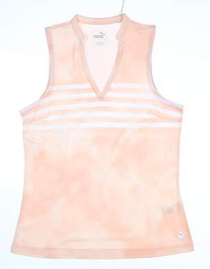 New Womens Puma Tie Dye Sleeveless Polo Small S Peachskin MSRP $55 597704 02