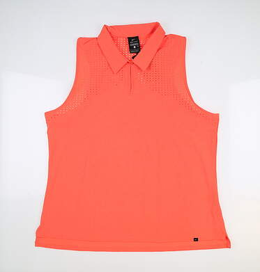New Womens Nike Sleeveless Polo Large L Orange MSRP $80 CU9401-854