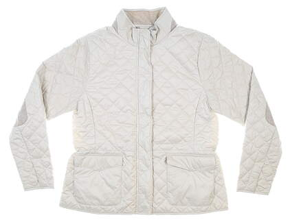 New Womens Peter Millar Quilted Travel Jacket Large L Cream MSRP $250 LF20Z12