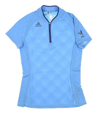 New W/ Logo Womens Adidas Golf Polo X-Small XS Blue MSRP $80 FT0716