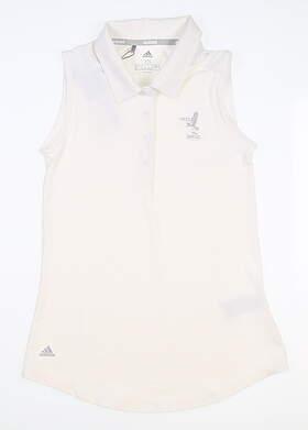 New W/ Logo Womens Adidas Sleeveless Golf Polo X-Small XS White MSRP $75 FS8435