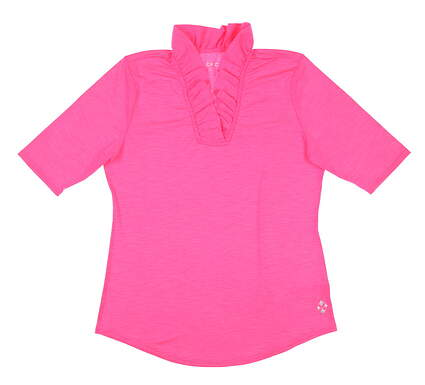 New Womens Jo Fit Millie 1/2 Sleeve Polo X-Small XS Pink MSRP $90 GT235-TPK