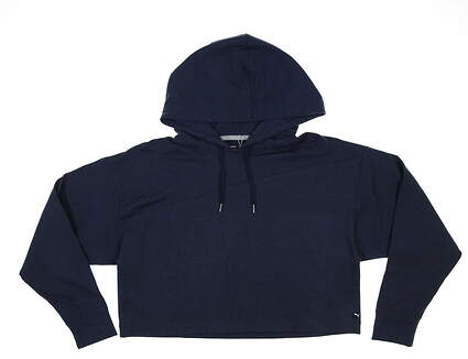 New Womens Puma Cloudspun Cropped Hoodie Small S Navy Blazer MSRP $75 531204 03