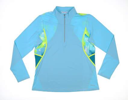 New W/ Logo Womens Cutter & Buck Annika Golf 1/4 Zip Pullover X-Large XL Blue MSRP $115