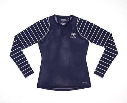 New W/ Logo Womens Cutter & Buck Annika Golf Long Sleeve XS Navy Blue MSRP $57 LA00108