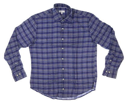 New Mens Peter Millar Flannel Button Down Large L Blue MSRP $148 MF20W18CSL