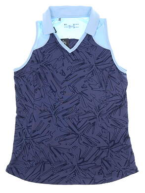 New Womens Under Armour Sleeveless Golf Polo X-Large XL Blue MSRP $75 UW0486