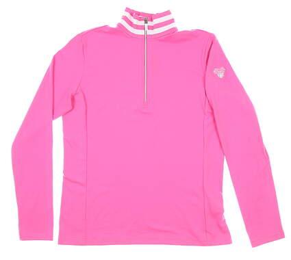New W/ Logo Womens Ralph Lauren 1/4 Zip Pullover Medium M Pink MSRP $140