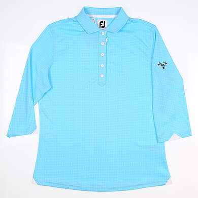 New W/ Logo Womens Footjoy 3/4 Sleeve Polo Medium M Blue MSRP $75 27586
