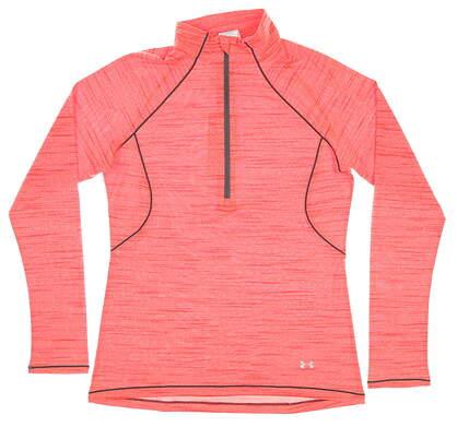 New Womens Under Armour 1/2 Zip Pullover Medium M Orange MSRP $65 UW1406