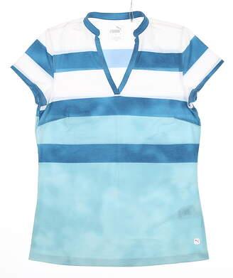 New Womens Puma Dye Stripe Polo Small S Milky Blue MSRP $60 597702 03