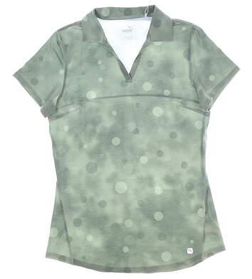 New Womens Puma Polka Dye Polo Small S Thyme MSRP $60 597700 02