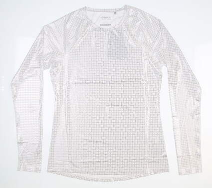 New Womens Cutter & Buck Annika Solar Guard Long Sleeve X-Large XL White/ Silver MSRP $75 LAK00067