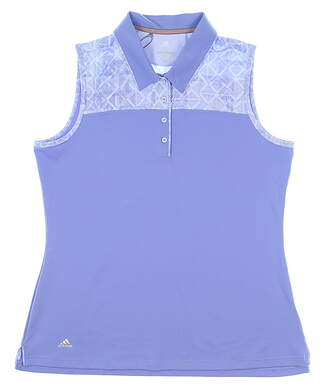 New Womens Adidas Merch Sleeveless Polo Large L Blue MSRP $60 CD4034