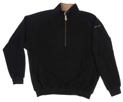 New W/ Logo Mens Straight Down 1/4 Zip Pullover Large L Black MSRP $90 601