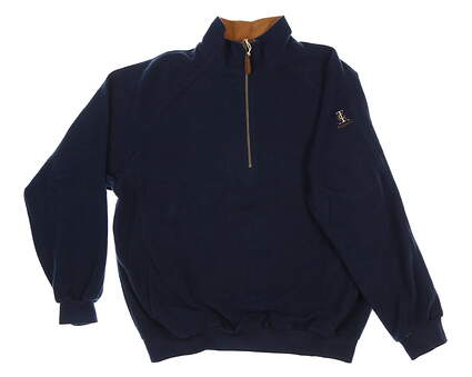 New W/ Logo Mens Straight Down 1/4 Zip Pullover Large L Navy Blue MSRP $90 601