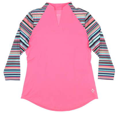 New Womens Jo Fit Vista 3/4 Mock Polo Small S Pink MSRP $90 GT197-RSA