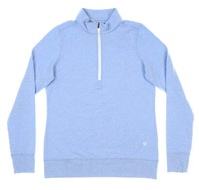 New Womens Straight Down Skye 1/4 Zip Pullover Small S Blue MSRP $104 W60303
