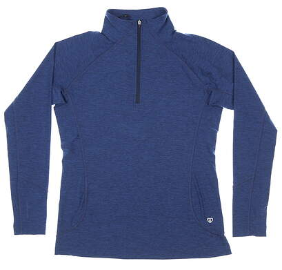 New Womens Straight Down Claire 1/4 Zip Pullover Medium M Blue MSRP $88 W14220