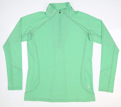 New Womens Straight Down Claire 1/4 Zip Pullover Medium M Green MSRP $88 W14220