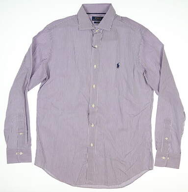 New W/ Logo Mens Ralph Lauren Button Up Medium M Purple MSRP $100