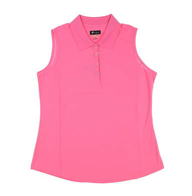 New Womens Greg Norman Golf Sleeveless Polo Large L Pink MSRP $59 G2S5K448