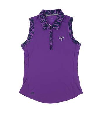 New W/ Logo Womens Adidas Ultimate Sleeveless Polo X-Small XS Purple MSRP $68 DU7893