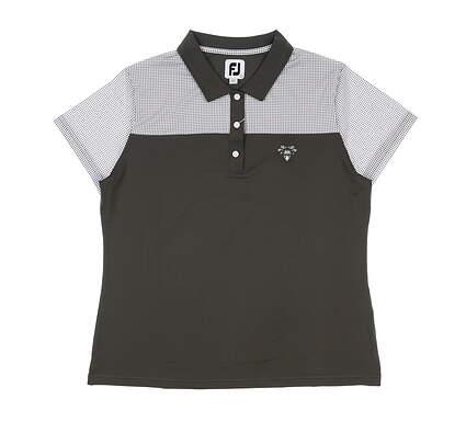 New W/ Logo Womens Footjoy Lisle Dot Print Polo Large L Charcoal MSRP $86 25497