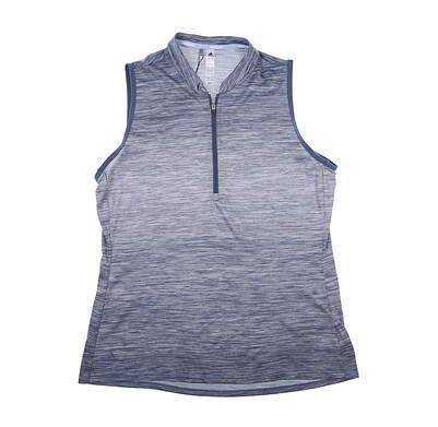 New Womens Adidas Novelty Sleeveless Polo Medium M Blue MSRP $65 DZ6305