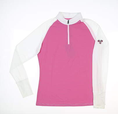 New W/ Logo Womens Footjoy 1/4 Zip Sun Protection Pullover Medium M White/Rose MSRP $103 27626
