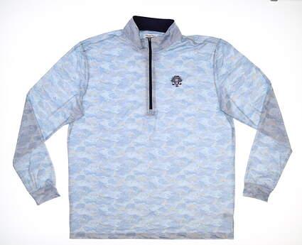 New W/ Logo Mens Straight Down 1/2 Zip Golf Pullover XX-Large XXL Blue MSRP $85
