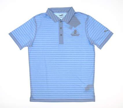 New W/ Logo Mens Puma Rotation Stripe Polo Small S Blue Bell MSRP $60 577974